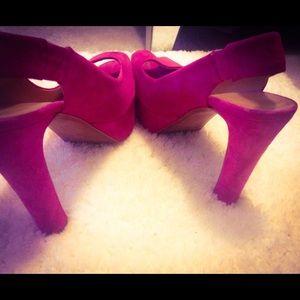ZARA Fuchsia Suede Slingback Pink Heels